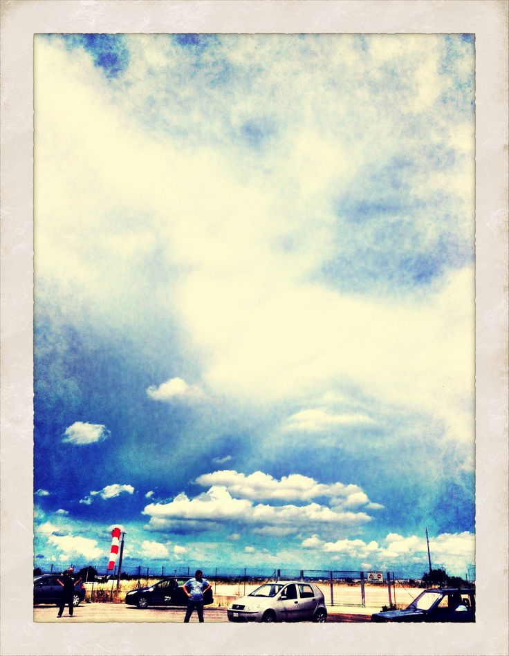 The sky above the airstrip.
