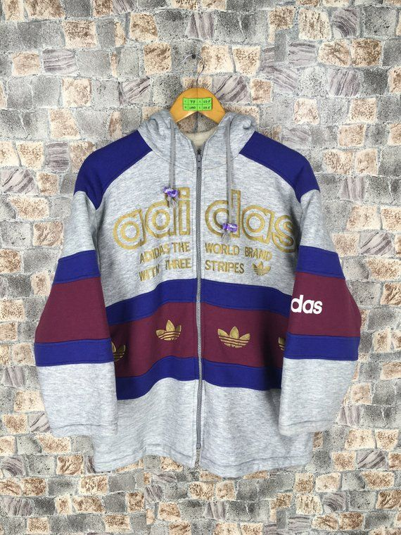 ADIDAS Trefoil Sweatshirt Hoodie Large Vintage 80s Adidas Colorblock Run  DMC Multicolour Jumper Hip Hop Adidas Hoodie Pullover Jacket L  805c58a75