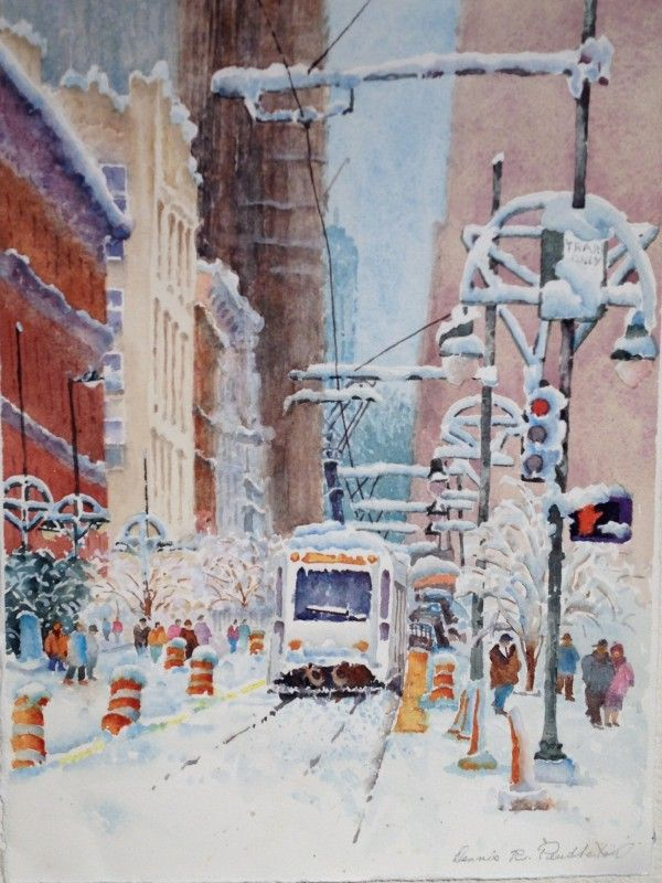 Watercolor Painting By Dennis Pendleton Of Snow Scene In Downtown