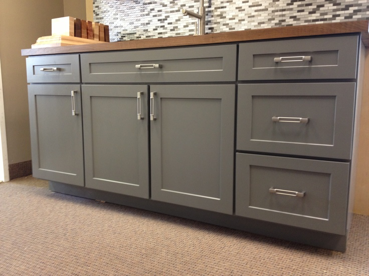armstrong cabinets trevant 5 piece door style in the slate painted finish topped with a black walnut michigan maple block top wwwdirectsupplyinc