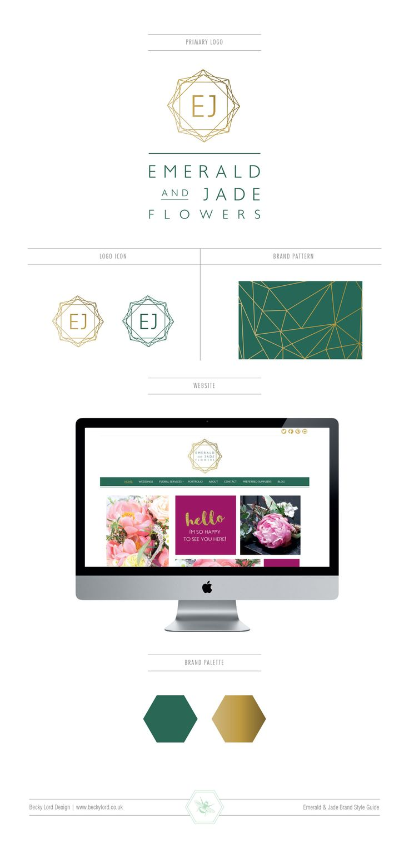 Emerald & Jade Flowers Logo Design by Becky Lord Design. Geometric, gold & gren