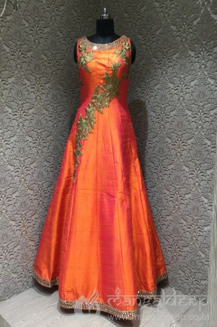 http://www.mangaldeep.co.in/lehengas/shimmering-orange-silk-designer-readymade-gown-5716 For more details contact us : +919377222211 (whatsapp available)