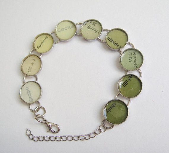 Green Ombre Paint Chip Bracelet (etsy item)