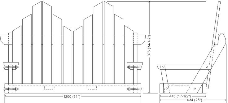 plan drawing of a bench swing