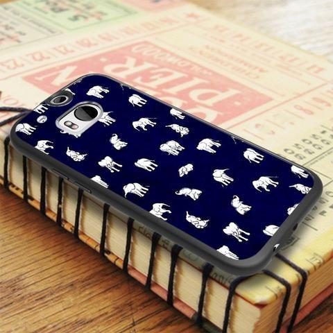 White Baby Elephant Pattern HTC One M8 Case