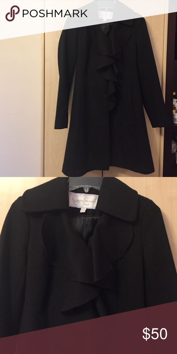 Jessica Simpson Coat Tailored fit, peacoat/trench coat style, ruffles in the front closes with snaps and a hook at top of ruffles Jessica Simpson Jackets & Coats Pea Coats
