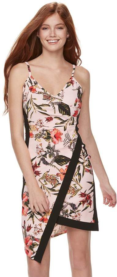 Juniors  Almost Famous Floral Asymmetrical Faux-Wrap Dress  28d9e5a33