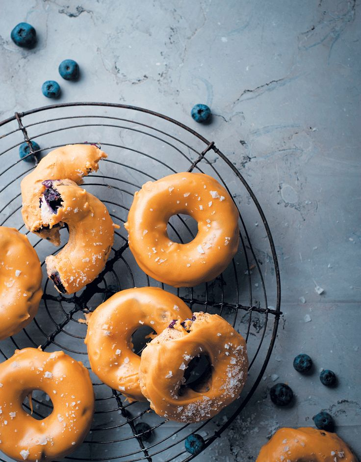 Blueberry and ricotta baked doughnuts with salted caramel-chocolate ganache
