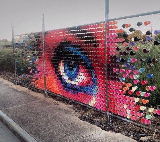by Hyde & Seek Arts using cups in Adelaide (LP) #street art