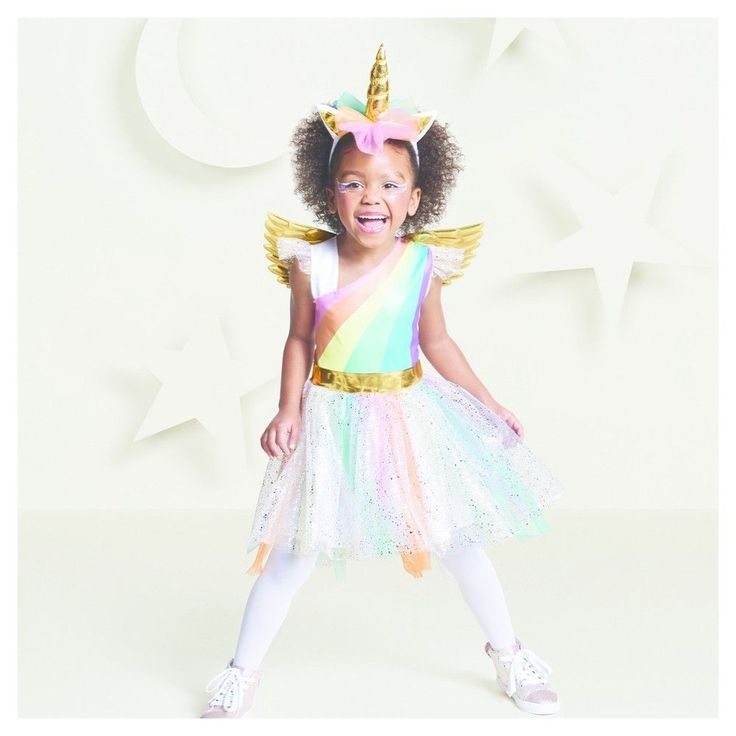 Toddler Girls' Rainbow Unicorn Costume 4T-5T - Hyde and Eek! Boutique, Multicolored