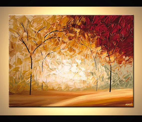 Árbol paisaje pintura pintura abstracta pintura por OsnatFineArt