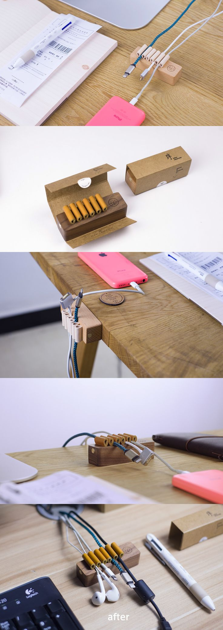 """Named """"Xu"""" which means orderly in Chinese, this cable organizer keeps your cables in check without knocking your desktop style. #Cable #Keeper #Organizer #Desk #YankoDesign #Office"""