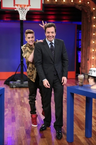 Justin Bieber gave Jimmy Fallon bunny ears when he visited 'Late Night With Jimmy Fallon' on February 5th.