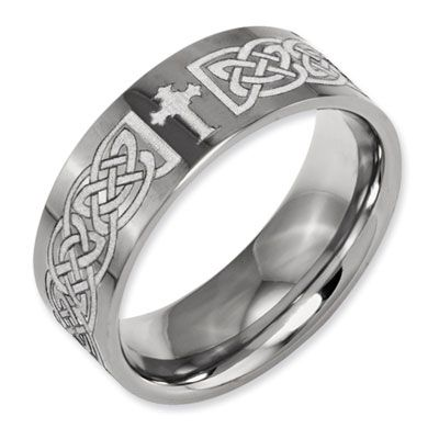 ApplesofGold.com - Laser Engraved Celtic Cross Titanium Band