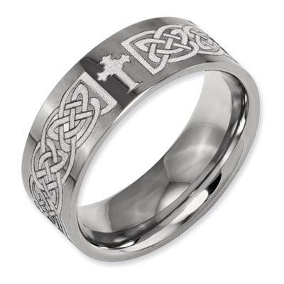 ApplesofGold.com - Laser Engraved Celtic Cross Titanium Band