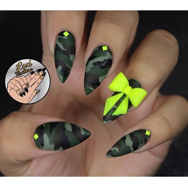 throwback to last summers camo nails❇️✳️ check out my new inner wild collaboration with @dermelect for a new take on metallic camo for fall! use site wide coupon code Lexi-20 and gain access to exclusive presale using the link in my bio❇️❇️