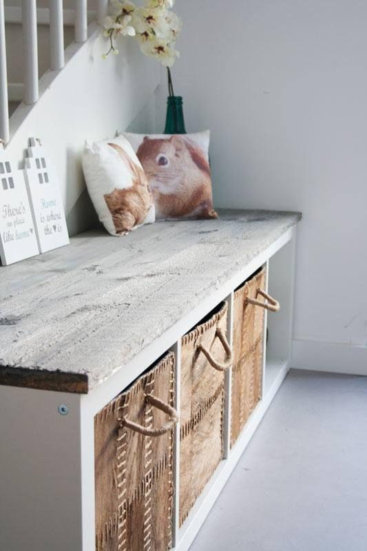 Homemade halbankje. Vloer is vtwonen vinyl Beton 1. #vtwonencollectie