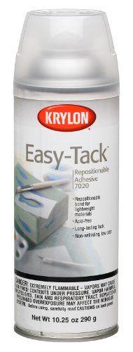 Krylon 10.25-Ounce Easy Tack Repositionable Adhesive Spray Krylon http://www.amazon.com/dp/B000A8AYO4/ref=cm_sw_r_pi_dp_aBBNvb136QW3J