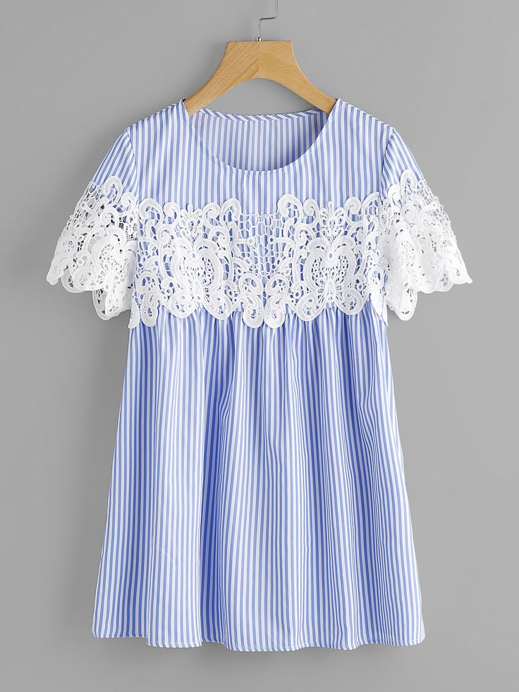 Shop Lace Applique Striped Smock Top online. SheIn offers Lace Applique Striped Smock Top & more to fit your fashionable needs.