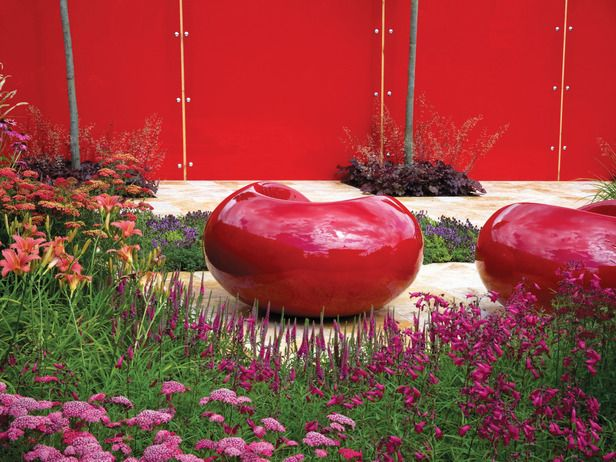 bold vibrant colors often used in fusion gardens red - Red Garden Design