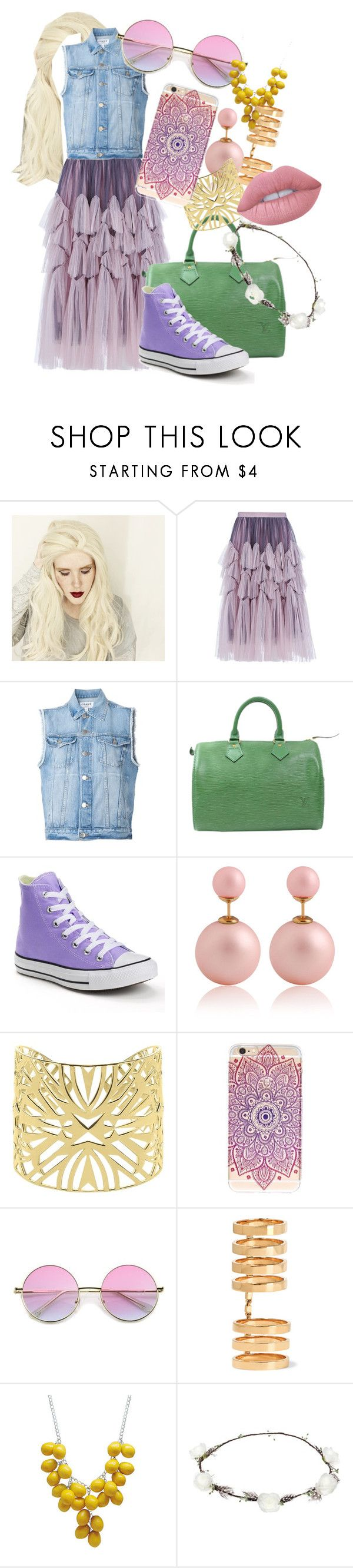 """Hipster Rapunzel"" by frostielvr ❤ liked on Polyvore featuring Dries Van Noten, Frame Denim, Louis Vuitton, Converse, Vélizance, Repossi, Lipsy, Lime Crime, Hipster and disney"