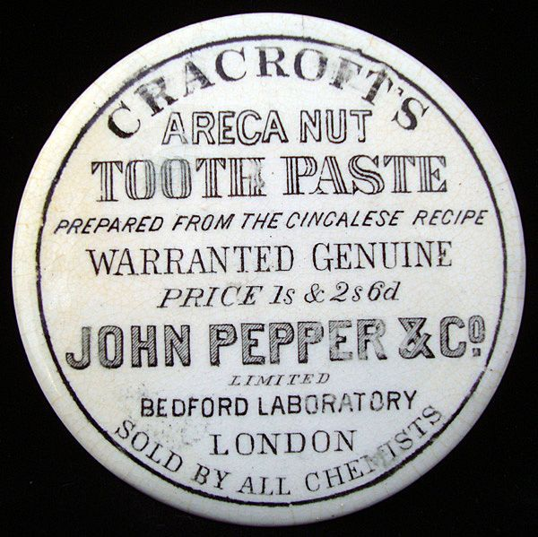 "Victorian ""QUACK MEDICINE"" Areca Nut Tooth Paste 1880 from aesthetictransferware on Ruby Lane"