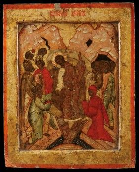 A FINE RUSSIAN ICON OF THE DESCENT INTO HADES, 15TH CENTURY. Sold for $36,000