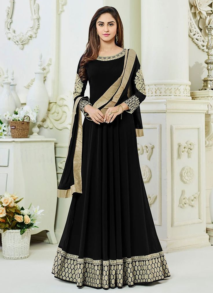 Discover the latest in stunning bollywood replica designer suits and salwar kameez online. Buy this Krystle Dsouza embroidered and patch border work faux georgette floor length anarkali suit.