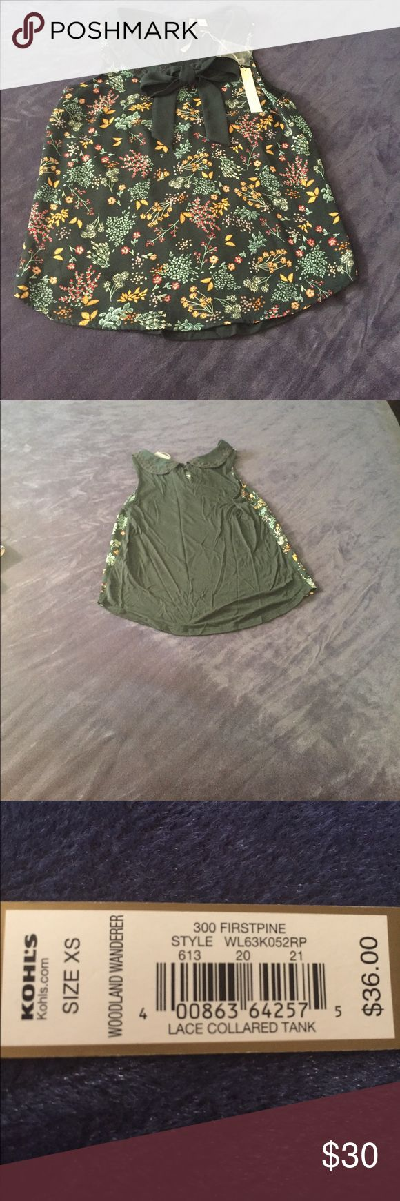 LC Lauren Conrad Lace Collared Tank From Woodland Wanderer Collection, color is called Firstpine.  Peter Pan collar and keyhole in the back, and ribbon to tie in a bow in the front.  Dark green with floral pattern.  🚫No Trades🚫 LC Lauren Conrad Tops Tank Tops