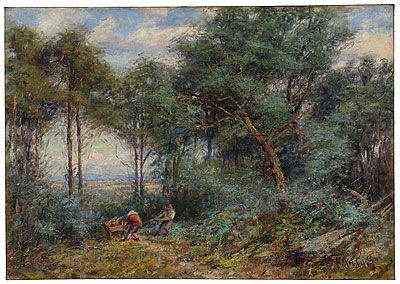 Frederick McCUBBIN, Hauling rails for a fence, Mount Macedon