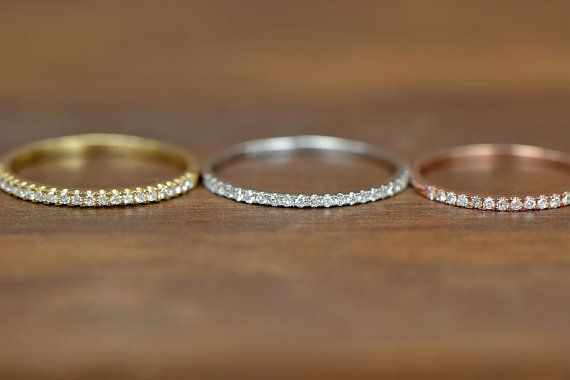 I love thin engagement rings!! Half Eternity Band Ring Thin Design Wedding band Micro Pave Diamond,Engagement ring/Wedding Ring: