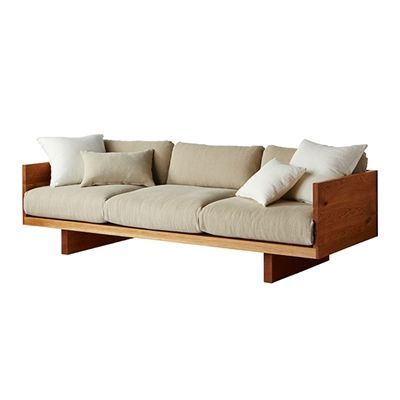 plinth sofa . darker stain and fuller, single seat cushion with a darker fabric