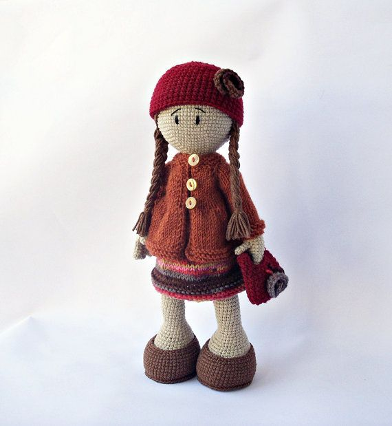 Cute crochted doll with a colorful dress and by DuduToyFactory, $69.90