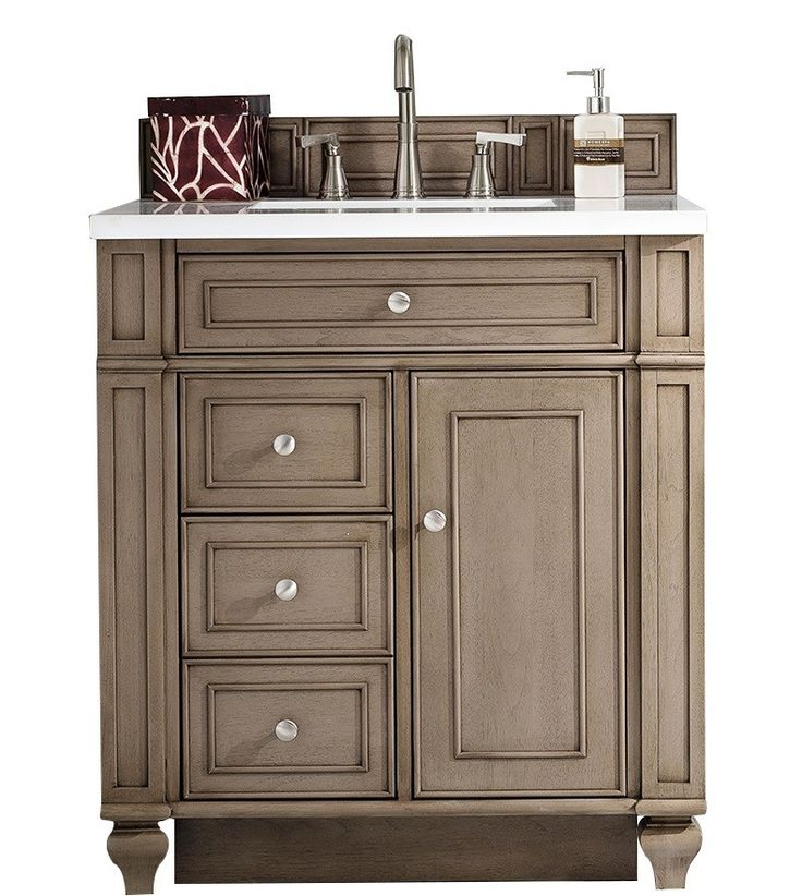 30 Inch Antique Single Sink Bathroom Vanity Whitewashed Walnut Finish White  Quartz Top