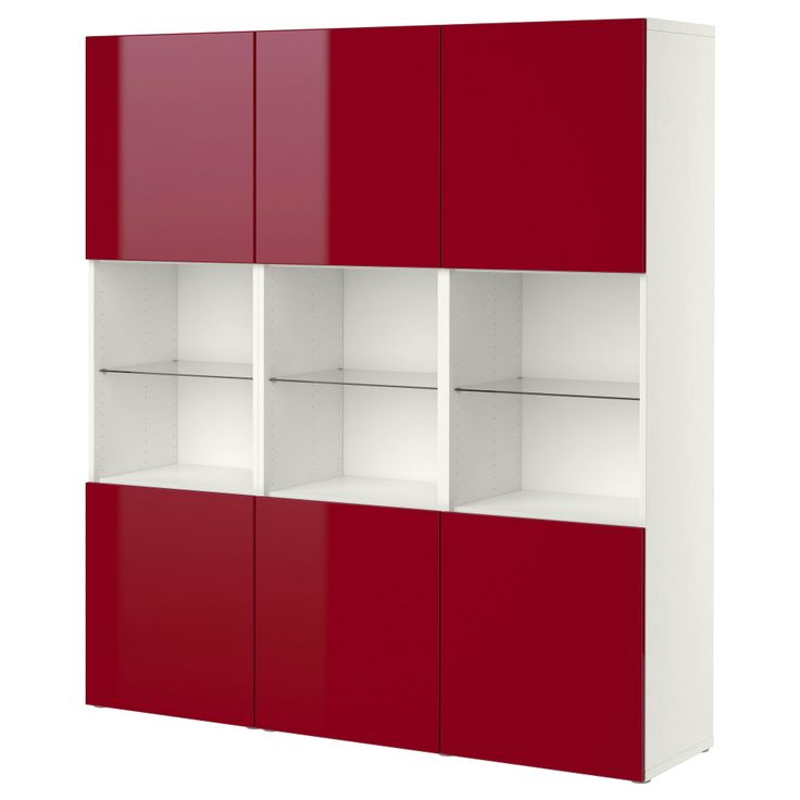 BESTÅ Storage combination with doors - white/high-gloss red - IKEA