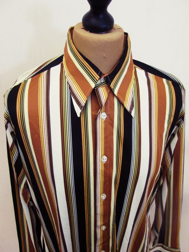 175 best 70s shirts images on pinterest 70s shirts vintage 70s vintage 1970s brown orange white stripe pattern indie mod shirt large sciox Image collections