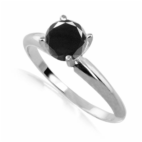 #6018 Black Diamond Solitaire Round Cut Ring in Sterling Silver