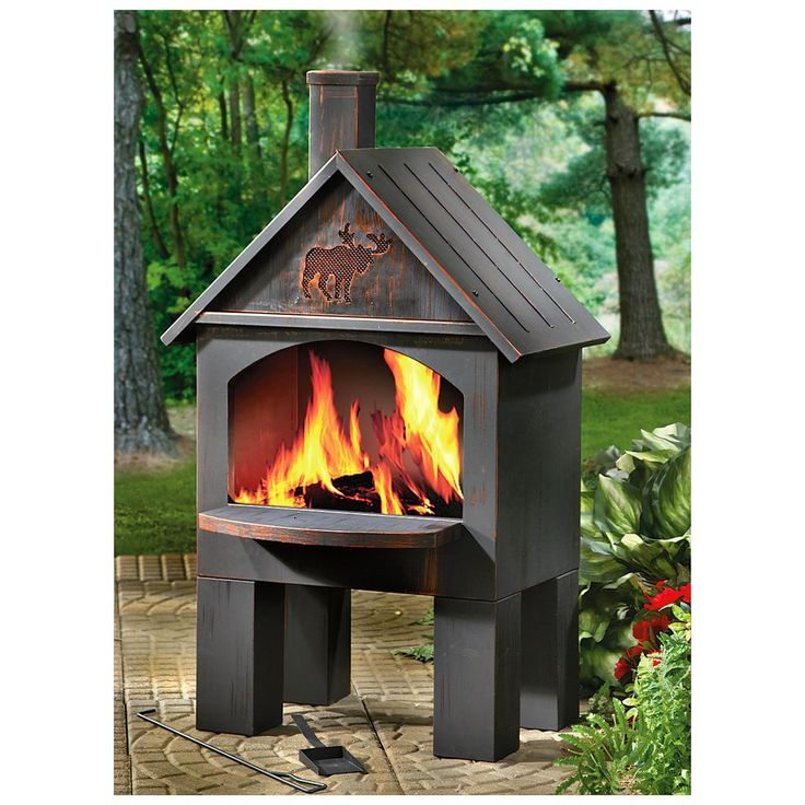 CASTLECREEK Cabin Cooking Steel Chiminea. Outdoor Fireplace ...