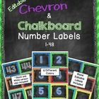 Editable Chevron and Chalkboard Number Labels.  Add your own text to these square labels.