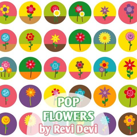 Pop Flowers 16159  Bottlecap size 1.313  Digital by blessedgrafik