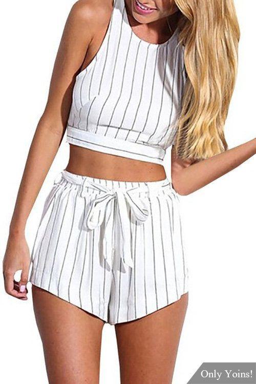 Stripe Pattern Sleeveless Crop Top & Belt Shorts Co-ord -YOINS