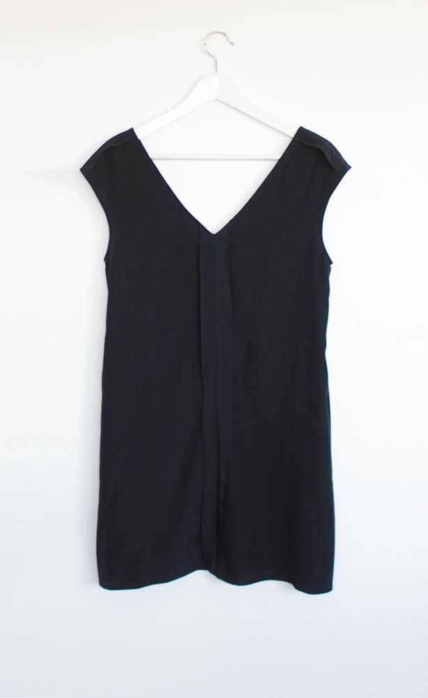 Silk shift dress with pockets