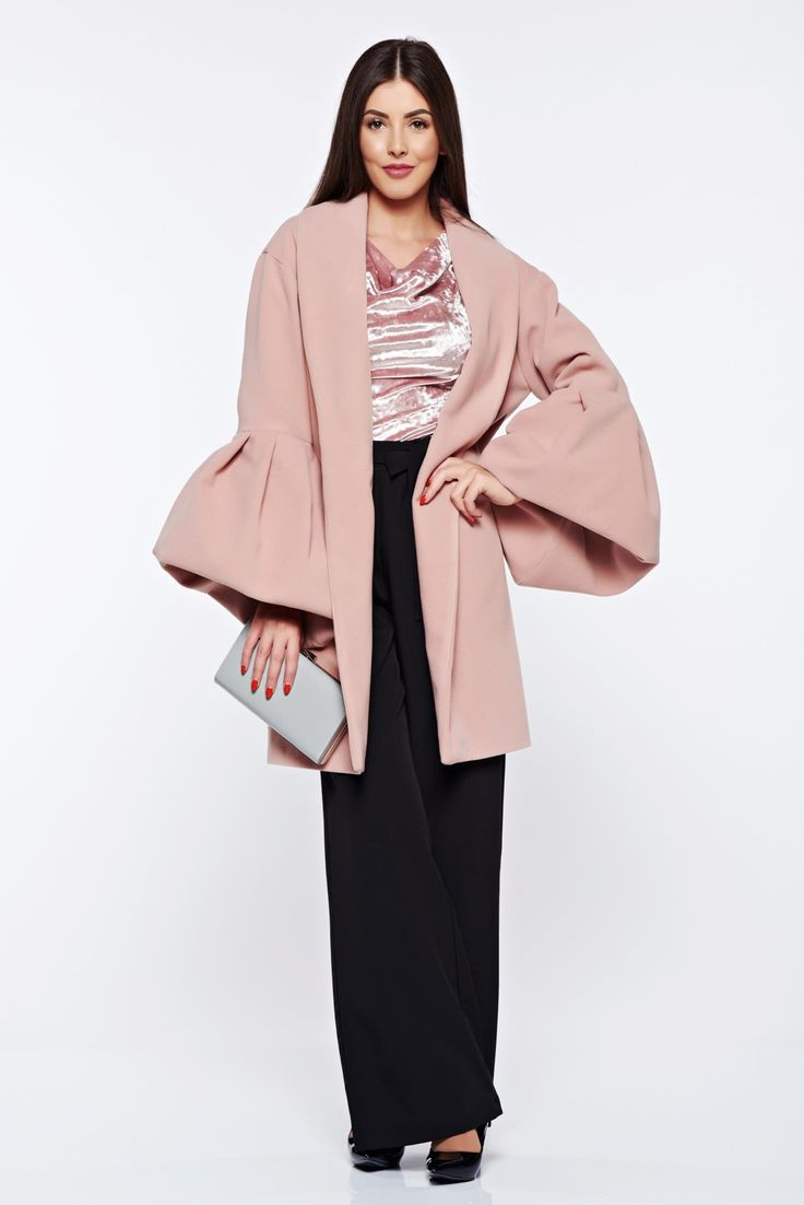 Ana Radu casual elegant with inside lining with bell sleeve rosa coat from wool, wool, women`s coat, inside lining, bell sleeve, straight cut