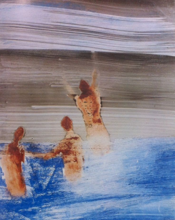Sydney Nolan - swimmers at Gallipoli 1958 oil crayon and acrylic on card (30x25cm)