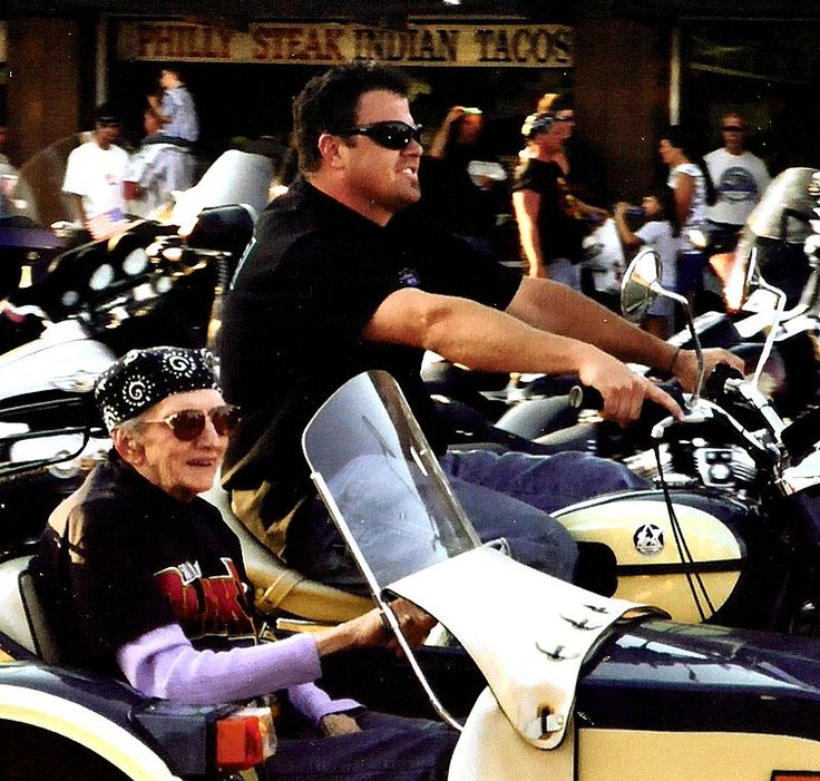 2005 Sturgis Motorcycle Rally, Granny in sidecar The older they are, the tougher they become. .jpg