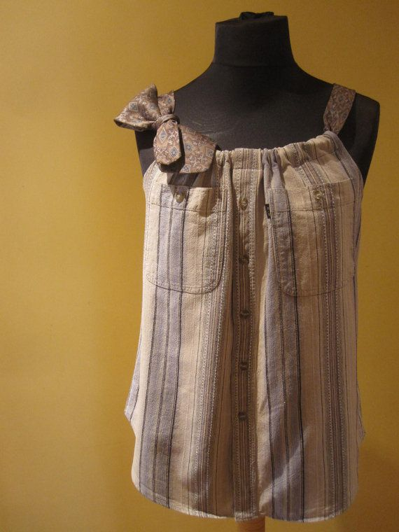 an old mens shirt into a tank top :)