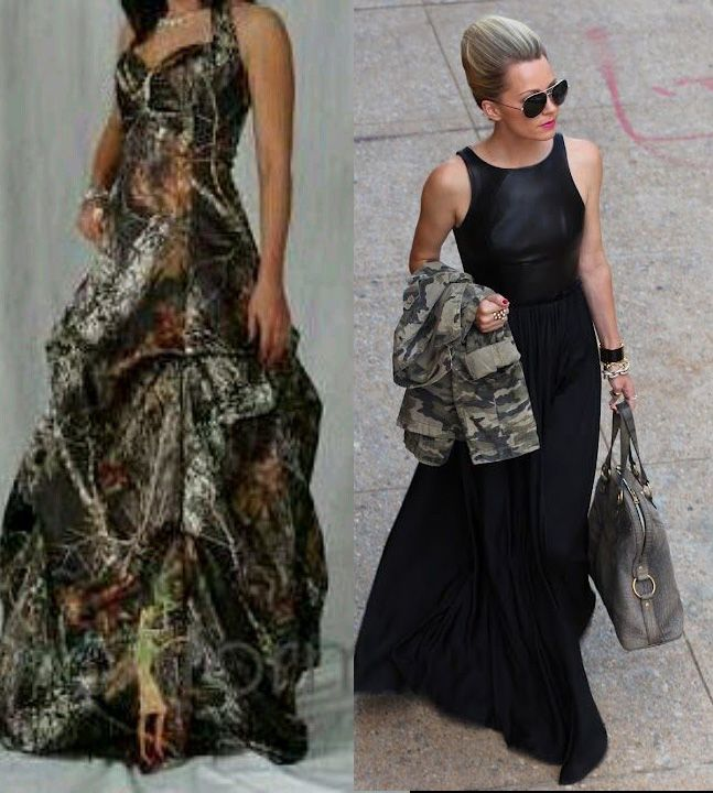 """*If there were proms in Paris* Camo for Prom Night in Paris would consist of an awesomely simple evening gown and an authentic army surplus jacket.  One would think her """"designer"""" evening jacket was in the cleaners and she just grabbed her favorite casual jacket to keep warm - the prom dress on the left made from camo fabric would be seen as trying too hard.  That being said, if the dance has a camo theme then kitsch may be called for - photo on right found on fortheloveofpretty.tumblr.com"""