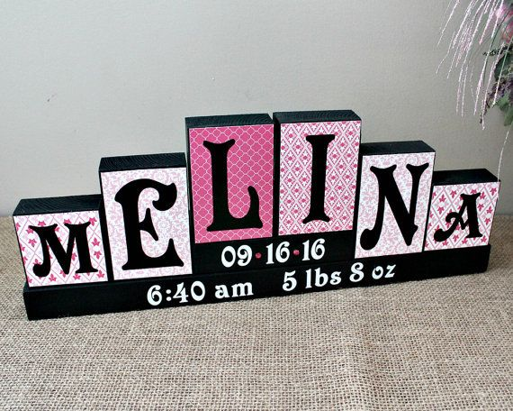 Personalized Baby Name Sign Letter Blocks Unique Gift Girl Nursery Decor 6 Letters First