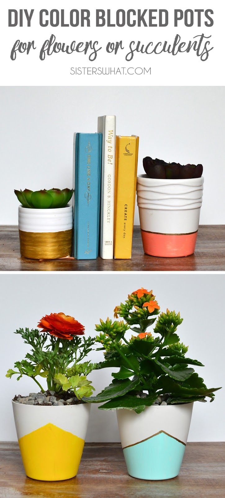 Paint some plastic pots to add some color to home decor color blocked pots succulents or flower pots