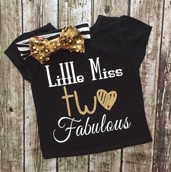 Little Miss TWO Fabulous Birthday Shirt TWO Year Birthday Shirt - BellaPiccoli